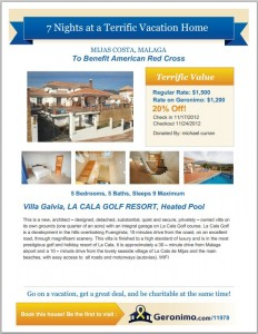 vacation rental for silent auction